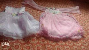 Two baby pink party wear frock age upto 1 to 2