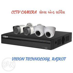 1 MP, HD, Night vision cctv camera. 4 camera set