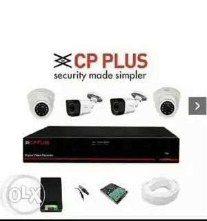 Four White CP Plus CCTV Cameras