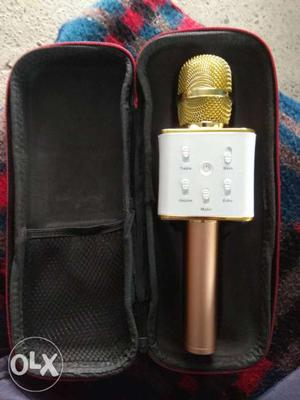 White And Gold Karaoke Microphone