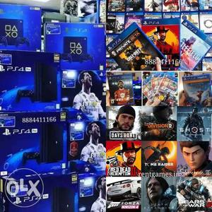 PS4 pro 40 games load 1 year warranty with swap best offer