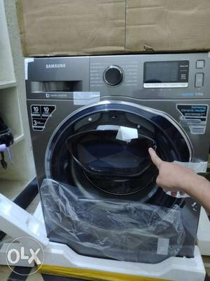 White And Black Front-load Washing Machine