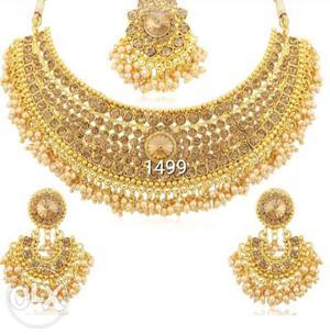 New 1 gram gold stylish stone necklace for women
