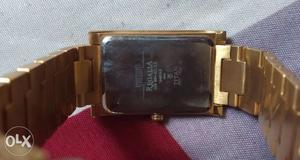 Rectangular Gold-colored Bezel Regalia Watch