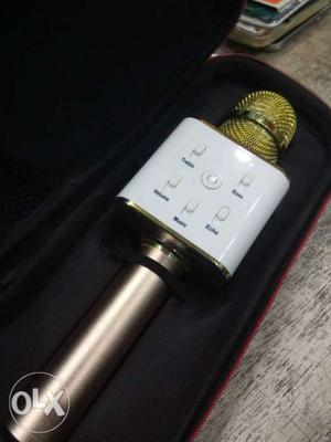 White And Gold Bluetooth Karaoke Microphone
