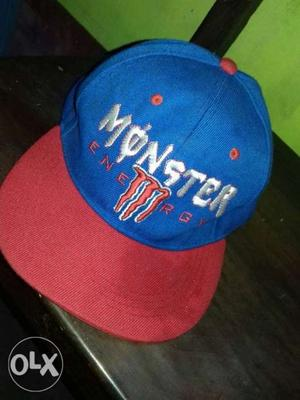Blue And Red Monster Energy Flat-brimmed Cap