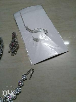 Bride baby pink and silver diamond necklace with