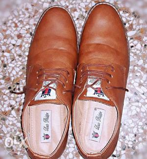 Louis Philippe Brand New 7 No. Shoes Shiny Tan