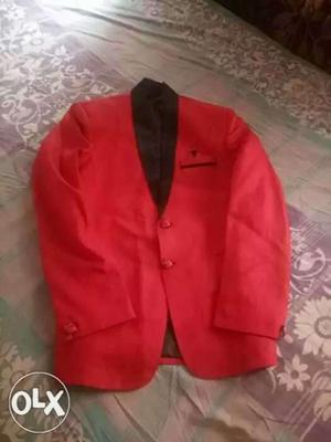 Red Shawl Lapel Suit Jacket