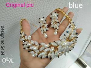 Beautiful American diamond neck set with pearl