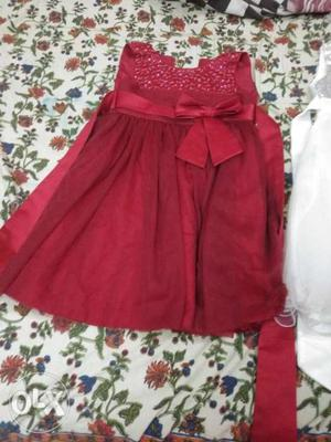 Red frock and white frocks suitable for 3to7years
