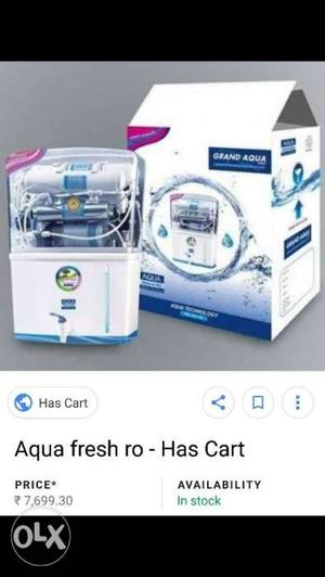 White And Blue Aqua Fresh Water Purifier With Box