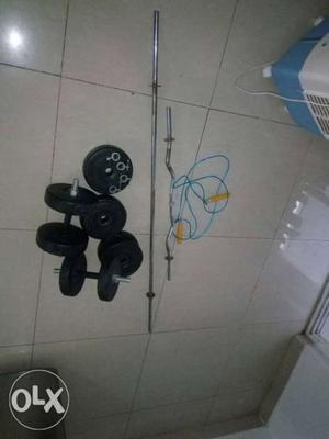 Branded Home gym set (weights, staright rod,