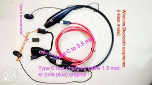 Combo set of wireless Bluetooth earphones and set of