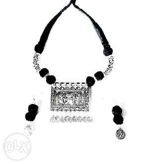 Ganpati oxidised German silver necklace with