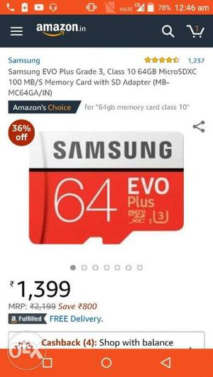 Urgent sell for samsung 64 gb memory card. Price