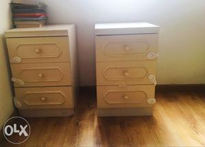 Set of two off white bedside table,  each