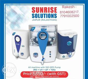 White Sunrise Solutions Water Purifier With Text Overlay
