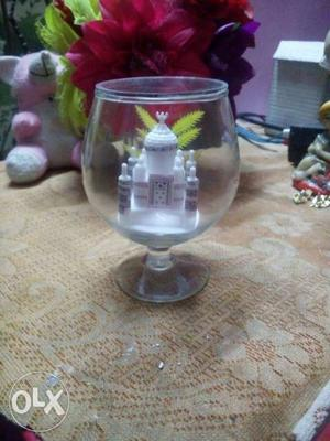 Clear Footed Glass With Taj Mahal Ornament