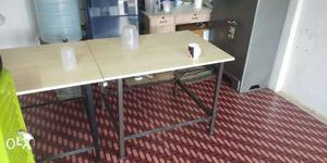 Rectangular White Wooden Table With Gray Metal Base 2 pic