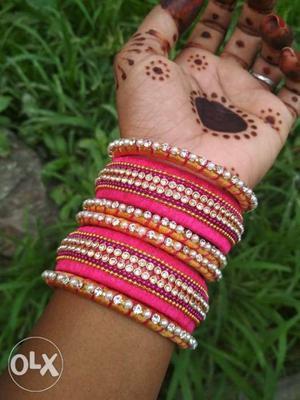 Pink Silk Thread Gemstone Encrusted Bangle Lot