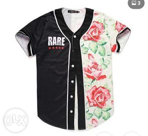 Black And White Floral Baseball Jersey