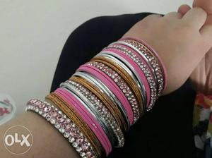 Diamond bangles set with 2 dozen plain bangles