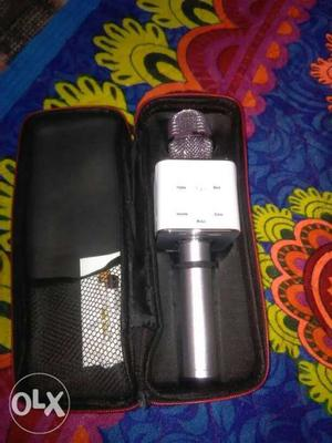 Black And Gray Bluetooth Karaoke Microphone With Pouch