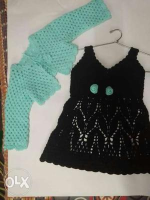 Girl's Black And Teal Knit Dress And Bolero