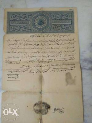 Revenue stamp paper around 100 years agoo. with
