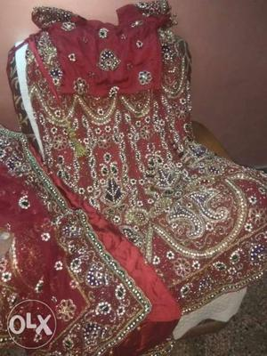 Red And White Floral Textile lehenga