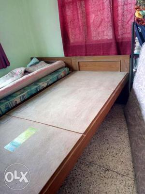Two Solid wood single beds with ply wood planks