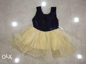 Dark Blue & Gold Baby Girl Dress for 1 year old