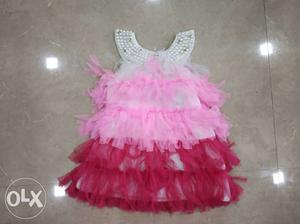 Royal Pink & Gold Baby Girl Dress for 1 year old