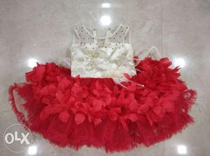 Royal Red & Gold Baby Girl Dress for 1 year old