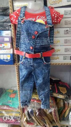 Blue Denim Jeans And Red Denim Jeans