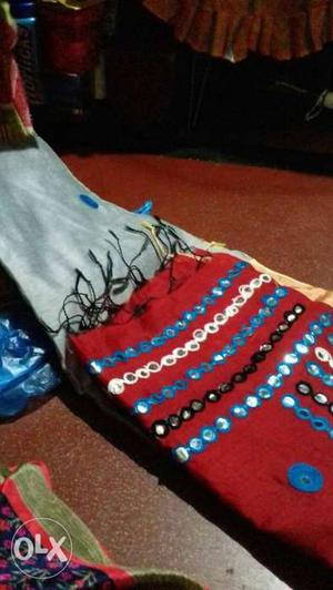 Blue, Red, And White Knit Textile