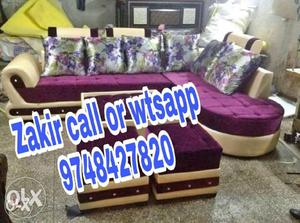 Purple and beige sectional couch l shape sofa set