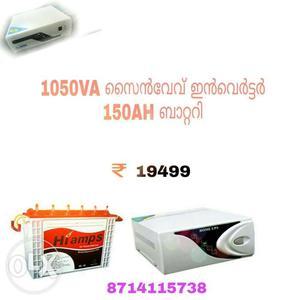 150 AH Hi Amps Tubular Battery And  VA sinewave inverter