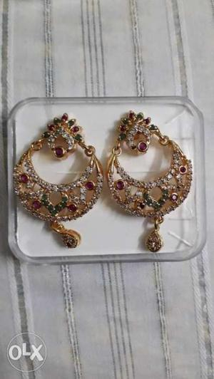 Chandbali cz 1 gram gold earrings.