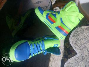 Green-and-blue Nike Basketball Shoes