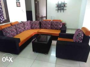 L shape 6 seater sofa set with centre table, only
