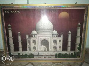 Taj Mahal Illustration With Brown Wooden Frame