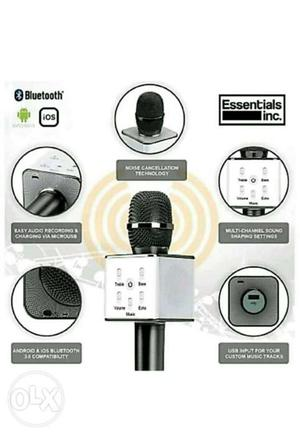 White And Black Bluetooth Microphone