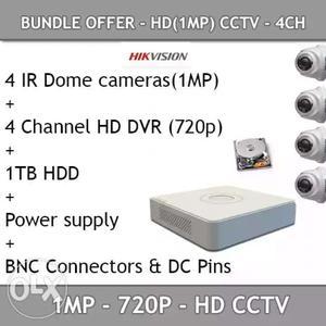 4 pcs camera 4 chanel dvr 1 tb harddisk power