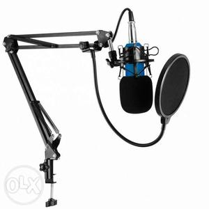 Blue And Black Condenser Microphone And Pop Filter