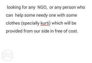 Looking For Any NGO, Or Any Person Who Can Help Some Needy