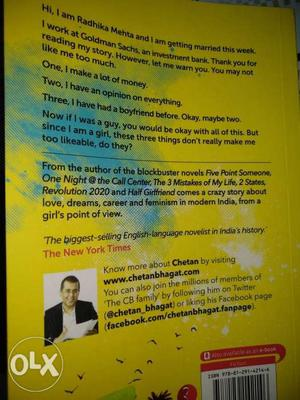 One Indian Girl By Chetan Bhagat want to sell