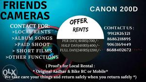 Canon 200D for Rentals in Chennai Full day(8Hrs)