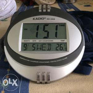 Grey And Black Kadio KD- Digital Clock